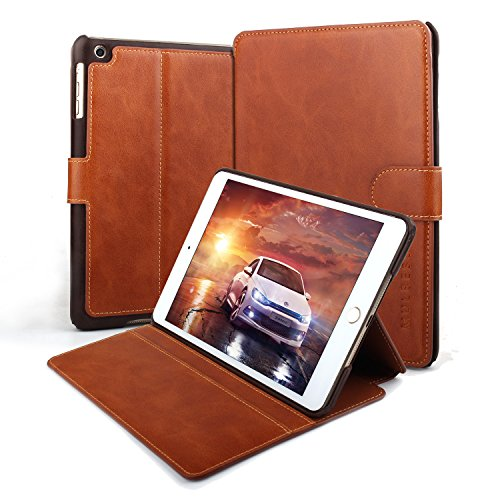 iPad mini Case,Mulbess Leather Flip Case with Kick Stand Wallet Pouch for Apple iPad mini 1 / 2 / 3 Retina,Cognac Brown