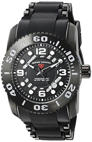 Swiss Legend Men's 'Commander Pro' Swiss Quartz Stainless Steel Casual Watch (Model: 10069-BB-01-PHT)
