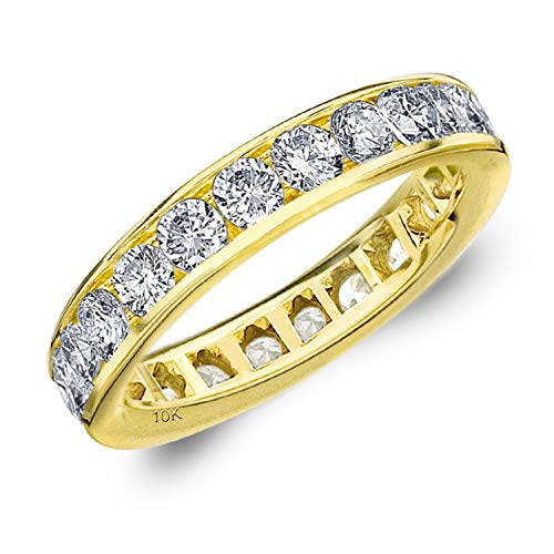 2CT Classic Channel Set Diamond Eternity Ring in 10K Yellow Gold - Finger Size 9 ()