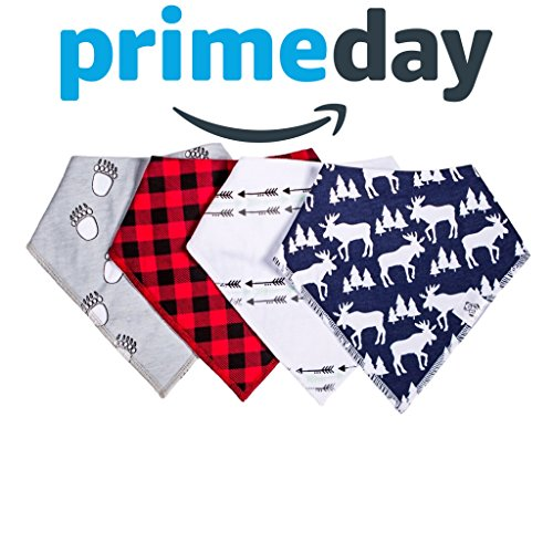 Baby Bandana Drool Bib 4 Piece Set, Best for Teething and Drooling, Absorbent and Soft, ''The Logan Pack'' for Boys and Girls by Buddies + Bear, 100% Organic Cotton + Polyester Fleece, Registry Gift by Buddies + Bear (Image #1)