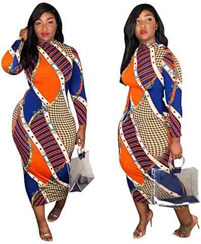 d9a8f820285 Ekaliy Women Sexy African Midi Dresses - with Long Sleeve Bodycon Poker  Pattern