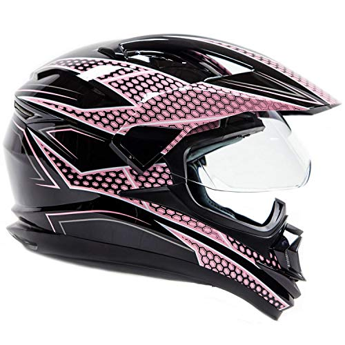 Typhoon XP14 Full Face Dual Sport Helmet Off Road UTV ATV Motorcycle Enduro - Pink & Black - Medium