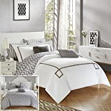 Chic Home CS2947-AN 9 Piece Trace Contemporary Greek Key Embroidered Reversible Bed In A Bag Comforter Set With Sheet Set, Queen, Grey