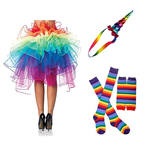 Zivyes 80s Fancy Dress Costume Accessories for Women Neon Earrings Leg Warmers (Unicorn Costume For Adults)