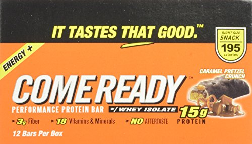 Come Ready Protein Bars, Caramel Pretzel Crunch, Mid Size, 1.76 Ounce (Pack of 12)