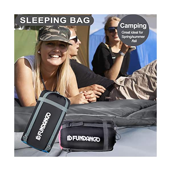 FUNDANGO Sleeping Bag Queen Size XL Double Sleeping Bag for Camping, Hiking, Traveling,2 Person Sleeping Bag with 2 Pillows and Compression Bag 11