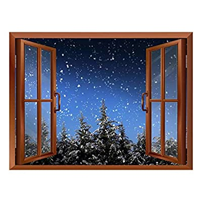 Premium Product, Gorgeous Composition, Quiet Christmas Eve with Snow and Pine Trees Out of The Window Peel and Stick Removable Window View Wall Sticker Wall Mural