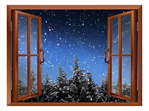 - wall26 Quiet Christmas Eve with Snow and Pine Trees Out of The Window - Peel and Stick Self-Adhesive Removable Window View Wall Sticker/Wall Mural - 24