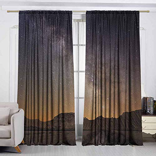 - VIVIDX Rod Pocket Window Curtain,Night,Milky Way Over Desert of Bardenas Spain Ethereal View Hills Arid Country,for Bedroom,Nursery,Living Room,W55x63L Inches Plum Apricot Chocolate