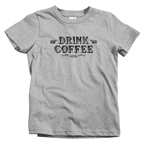 Smash Vintage Kids Drink Coffee T-Shirt - Heather Gray, Youth - Gray Roaster