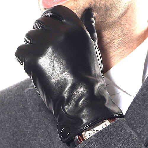 WARMEN Herren Winterhandschuhe aus echtem Lammleder (Plüschfutter/100% KaschmirFutter) (L ( Standardgröße ), Schwarz ( 2014 Neu/Kaschmir-Futter/Touchscreen ))