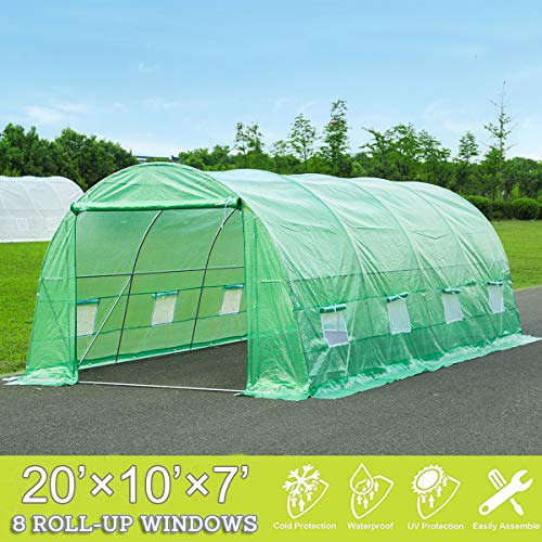 Mellcom 20′ x 10′ x 7′ Greenhouse Large Gardening Plant Hot House Portable Walking in Tunnel Tent,Green
