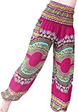 RaanPahMuang Brand Smock Waist Rayon African Dashiki Art Summer Harem Baggy Pants, Large, Pink