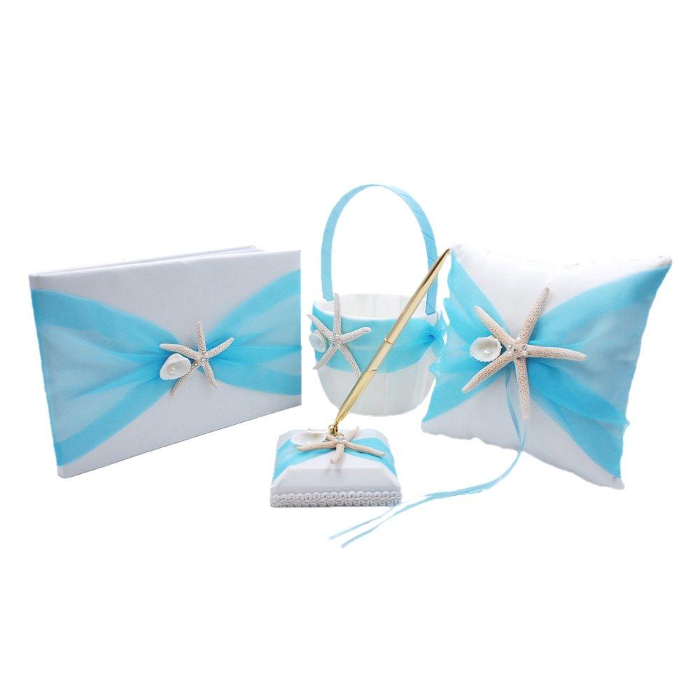 Abbie Home Organza Bowknot Wedding Guest Book + Pen + Pen Stand + Ring Pillow + Flower Basket Set Romantic Beach Wedding Party Favor-Tiffany Blue