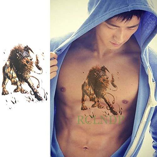 Impermeable Etiqueta engomada del Tatuaje 4pcs León Guerrero Arte ...