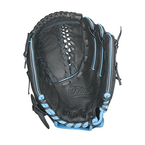 Wilson Flash Youth Fastpitch Softball, Black/Columbia Blue, Right Hand Throw, 11.5-Inch (Fastpitch Glove Youth Ball)