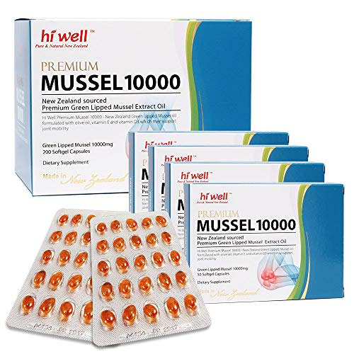 Hi Well Premium Green Lipped Mussel 10000mg 200 Capsules New Zealand Green Lipped Mussel Extract Oil Joint Health Support & Mobility by Hi Well (Image #5)