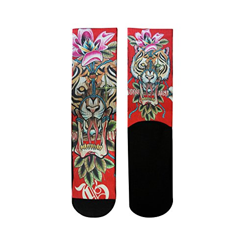 (Gold Ink Custom Novelty Elite Socks Gift With Red Tiger Tattoo Art Print Size 6-12)