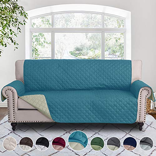 RHF Reversible Sofa Cover, Couch Covers for 3 Cushion Couch, Couch Covers for Sofa, Couch Cover, Sofa Covers for Living Room,Couch Covers for Dogs, Sofa Slipcover,Couch Protector(Sofa: Seafoam/Beige) (Teal Sectional Couch)