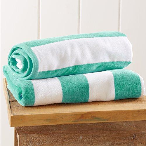 Great Bay Home 2-Pack 100% Cotton Plush Cabana Stripe Velour