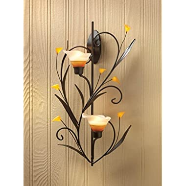 Koehler Home Kitchen Decorative Gift Amber Lilies Candle Wall Sconce
