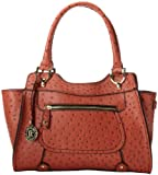 London Fog Knightsbridge Four Poster Top Handle Bag,Terracotta Ostrich,One Size, Bags Central