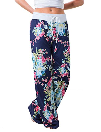 Misses Casual Pants - Assivia Women's Casual Pajama Pants Floral Drawstring Wide Leg High Waist Palazzo Lounge Pants (XL, Blue5)