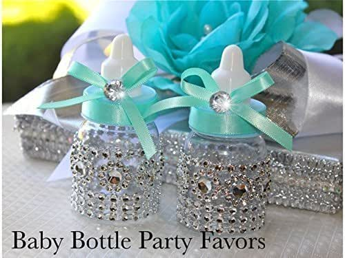 Amazon.com: Silver Rhinestones And Teal Mini Baby Bottle