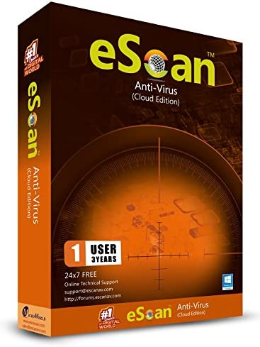 eScan Antivirus with Cloud Security web security Anti Ransomware Cloud Backup antivirus protection software 2019   1 Device 3 Years [Windows XP & above PC Laptops]
