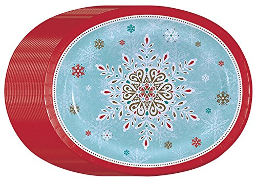 Performa Peaceful Snow Holiday Disposable Oval Dinner/Platter Paper Plates (50ct.)