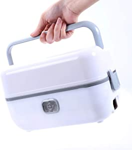 Tableware Q Electric Heating Lunch Box Rice Cooker Portable Food Warmer Multifunction Food Heater Heat Meals Multi-Layer Separation Removable Design ( Color : White A )