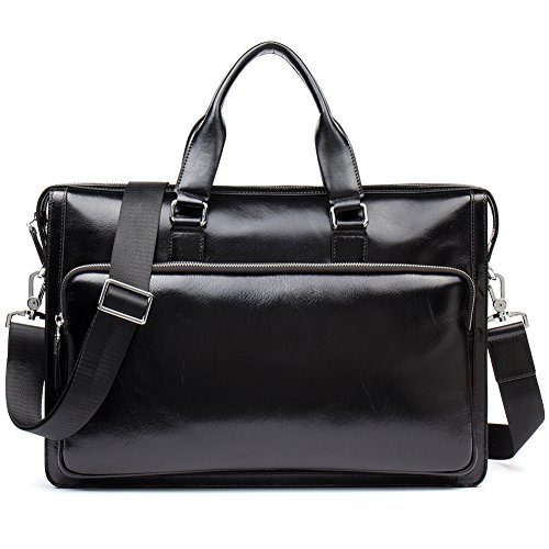 MANTOBRUCE Men Briefcase Leather Vintage Simple Messenger Bag Office Handbag 15'' Laptop Bag Black by MANTOBRUCE