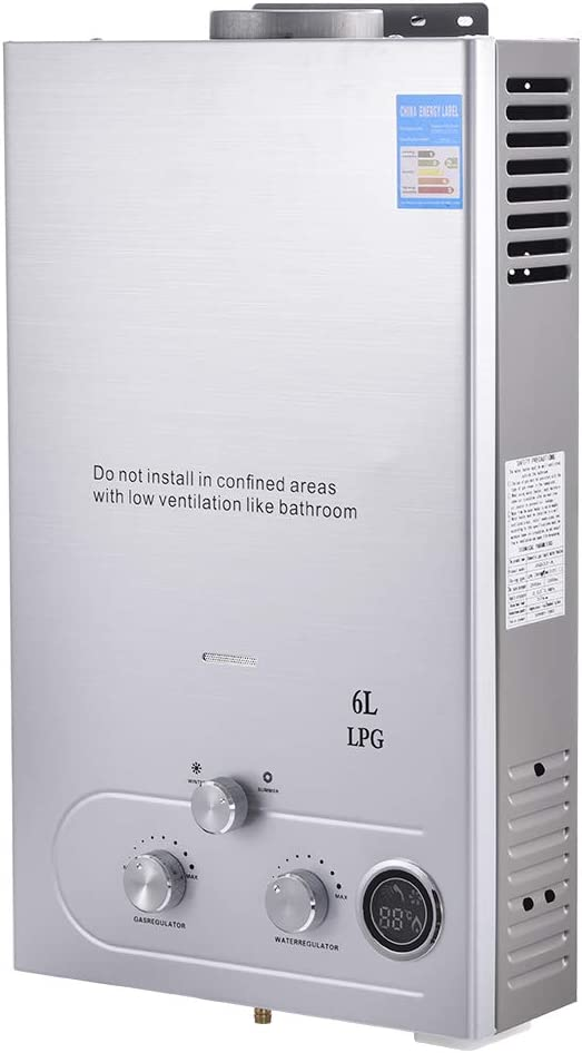 Calentador de Agua Instantáneo a Gas, 6L 1.58 GPM 12KW, Calentador de Agua LPG, sin Tanque, con LCD Digital, acero Inoxidable con Cabezal de Ducha