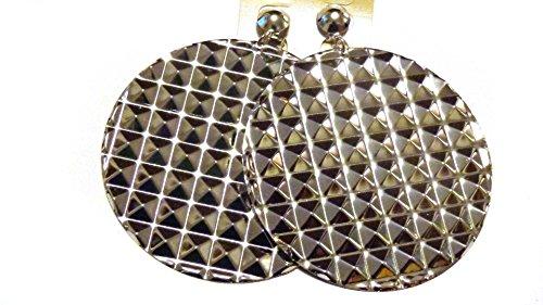Hooop Earrings (Clip on Earrings Large Textured Circle Hoop Gold or Silver tone 3.5 inch Hooops (Silver))