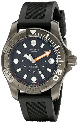 Victorinox Swiss Army Dive Black Dial SS Rubber Quartz Men's Watch 241555