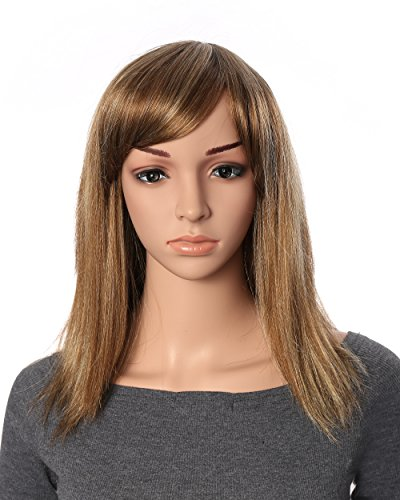 OneDor 18 Inch Full Head Straight Kanekalon Hair Wig with Oblique Hair Bang Extensions (R1224B) (Long Ginger Wig)