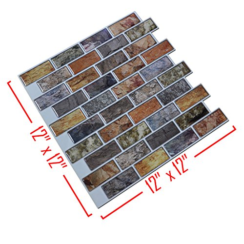 Art3d 10-Piece Peel & Stick Kitchen/Bathroom Backsplash Sticker, 12'' X 12'' Faux Ceramic Tile Design by Art3d (Image #2)