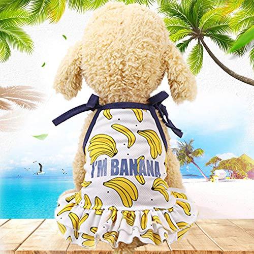 JACKBANG Couple Dog Clothes Spring Summer Dog Dress French Bulldog Costume Fruit Print Pet Cat Dress Mesh Pet Vest Shirt Puppy Costume Dog Accessories Cool XL Banana Dress -