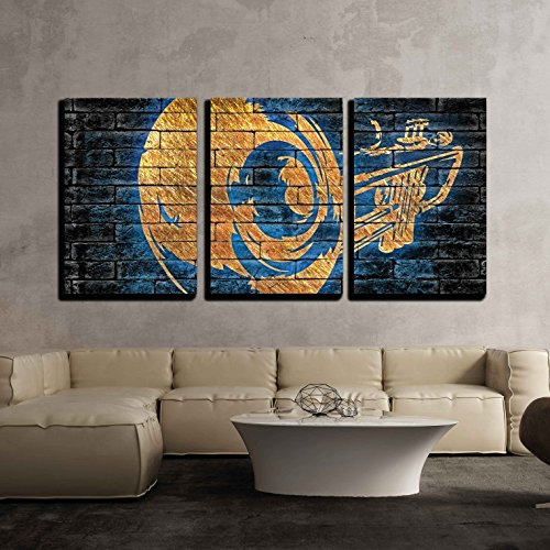 wall26 3 Piece Canvas Wall Art - Copper Trumpet with Blue Silhouette on a Dark Brick Background - Modern Home Decor Stretched and Framed Ready to Hang - 24