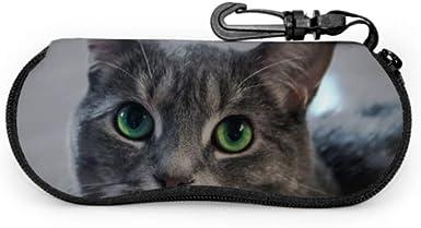 Animales Gatos Hocico de un gato gris con Big G Estuche para gafas de sol para