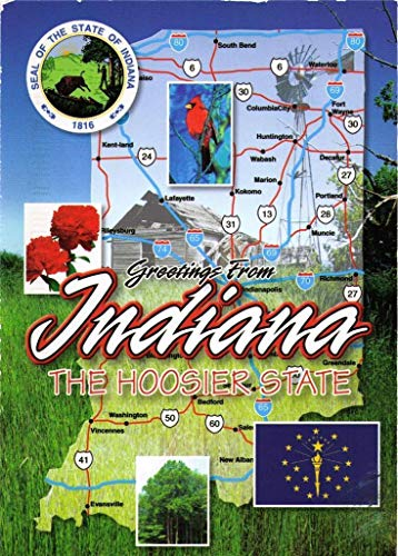 Metal Indiana Hoosiers (Print on Metal Indiana The Hoosier State Pacers Indy Colts Map Print 12 X 18. Worry Free Wall Installation - Shadow Mount is Included.)