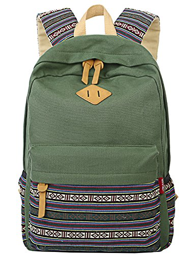 Mygreen Casual Style Lightweight Canvas Backpack School Bag Travel Daypack (Army Green 2)