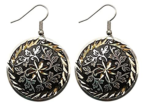 Earrings Indian Style for Women Girls Fashionable Jewelry Accessories for Her - Brass Black Metal Rustic Dangle Earrings