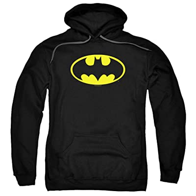 Batman Classic Logo Pull-Over Hoodie Sweatshirt & Stickers: Clothing