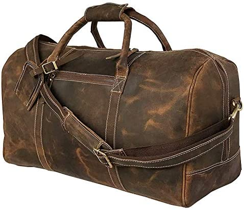 24 Inch Genuine Leather Duffel Travel Overnight Weekend Leather Bag Sports Gym Duffel for Men 24 inch