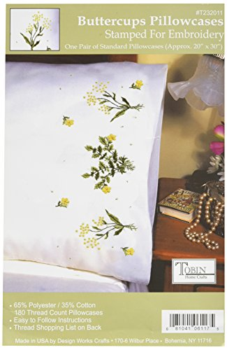 Price comparison product image Tobin Stamped Pillowcase Pair for Embroidery, 20 by 30-Inch, Buttercups