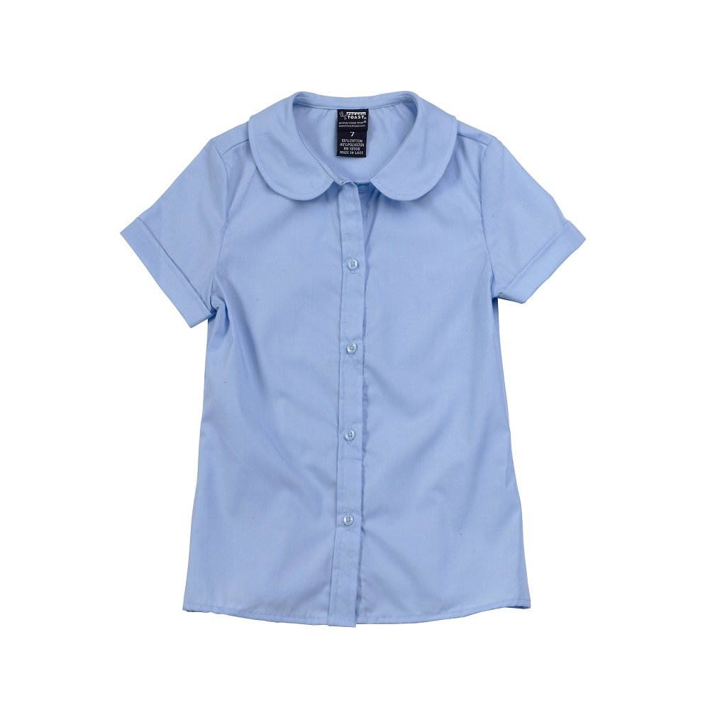 French Toast Girls Short Sleeve Peter Pan Blouse No Lace Light Blue Sz 6x