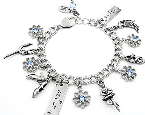 I Love Dance Bracelet, Personalized Engraved Name and Crystals of your choice