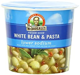 Dr. McDougall\'s Right Foods Vegan White Bean & Pasta Soup, Light Sodium, 1.8-Ounce Cups (Pack of 6)