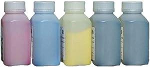 Refill Color Laser Toner Powder Kits for DELL E525W C3760n C3760dn C3765dnf 1250C 1350CNW 1355CN 1355CNW C1660W Laser Printer (40g/Bottle,2 Black,1 Cyan,1 Magenta,1 Yellow)
